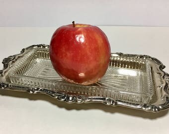 Vintage Relish Dish Vanity Tray Silverplate and Glass Elegant Living