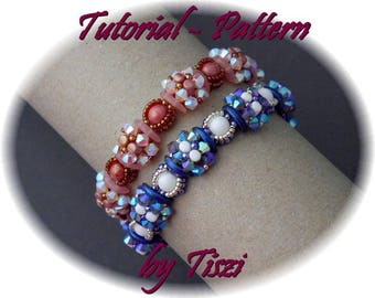 Beading tutorial for beaded bracelet Geda with Crescent, Rulla and bicones. Beading pattern for bracelet. PDF instructions, step by step