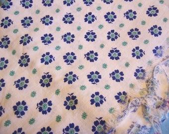 vintage blue flowers cotton fabric