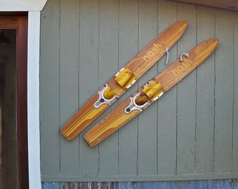 "A Pair of Mid Century Nash Wood Training Water Skis ""Perfect for a Lake House Decor"""