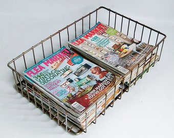 Industrial Chic Vintage Welded Wire Basket - Stuff Corral, Desk Organizer, Flat File Basket, Magazine Storage