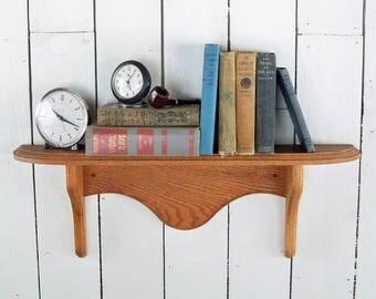 "Vintage Solid Oak 29"" Bookshelf - Wall Mounted Shelf, Curio Shelf with Curved, Bevelled Edges"
