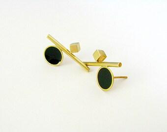 Brass Modern Earrings-Gold Statement Earrings-Brass Statement Earrings-Resin Earrings-Gold Stud-Brass Resin Earrings-Geometric Earrings