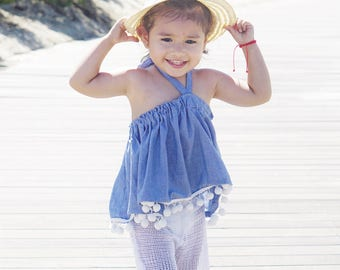 Chambray Pom Pom  Swing Top /  Toddler Top / Baby Top / Boho  / Baby clothing / Toddler Clothing / Summer Top