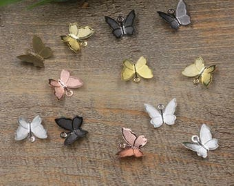 Wholesale 500 Brass Filigree Butterfly Component 11x13mm Raw Brass/ Antique Bronze/ Silver/ Gold/ Rose Gold/ White Gold/ Gun-Metal - Z5328