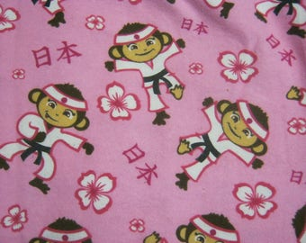 Martial Arts Monkey Flannel Fabric 24 inches  Pre-Washed