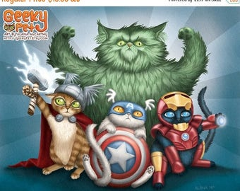 SALE Cat Avengers - 10x8 art print - cats dressed up like Thor, Captain America, Iron Man and the Hulk. Superhero kitty