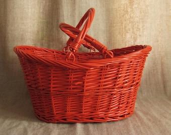 Large Painted Basket in Fire Orange / Large Upcycled Vintage Basket / Bright Picnic Basket / Storage and Organization for Home Decor