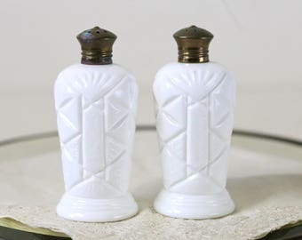 milkglass salt and pepper Fenton glass