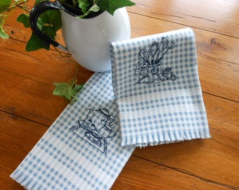 Blue Gingham Checked Embroidered Cotton Dishtowels Embroidered Dish Towels
