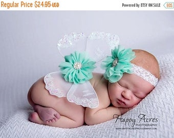 ON SALE NEWBORN Wings, white and mint wings and headband set, Angel Wings, newborn photography prop, baby wings, fairy wings
