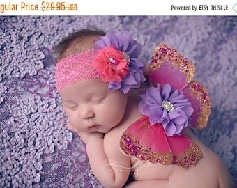 ON SALE PINK Newborn Wings, wings and headband set, newborn photography prop, rhinestone headband, pink and purplewings
