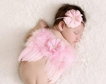 ON SALE Pink feather wing set, wings and headband, newborn photo prop, baby wings, photography prop, newborn wings