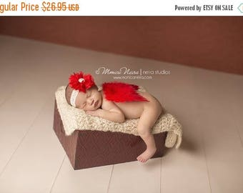 ON SALE Red Feather Wings, wings and headband set, newborn photo prop, photography prop, angel wings, angel baby