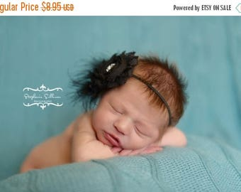 ON SALE Black Chiffon Headband, Shabby Chic headband, newborn headband, photography prop, vintage headband