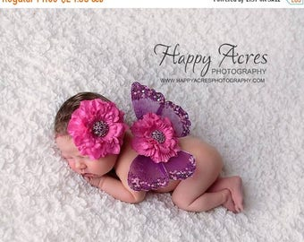 ON SALE Pink and Purple Newborn Butterfly Wings and Headband, Newborn Photography Prop