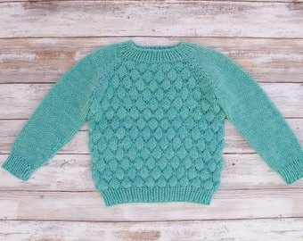 Bobble Baby Pullover. Hand Knit Blue Baby Pullower. Knit Baby Sweater. Wool Baby Sweater. Knit Baby Boy Pullover. Raglan Baby Pullover.