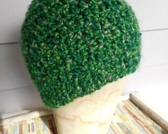 The Belvoir Forest Messy Bun Beanie Hat Handmade Crochet Chunky Acrylic Yarn Boho Cap in Irish Kelly Eire Green Winter wood forest evergreen