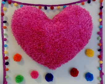 PINK and RED Heart Super Soft Comfy Cozy Huggable Fluffy Silky Shaggy Throw Toss Heart Shaped Pillow * one pillow = 2 bright festive colors