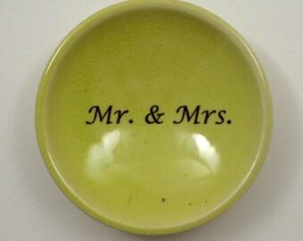 Mr. and Mrs. Ring Dish/ Custom Ring Dish/ Porcelain Ring Dish/ Mr. and Mrs. Ring Holder/ Yellow- Green Ring Dish