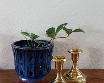 FREE SHIPPING Brass Geometric Candle holders, vintage candlesticks