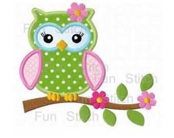Big size flower owl applique macine embroidery design