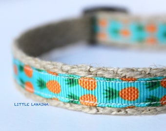 "Teal Dog Collar, Pineapple Dog Collar, 5/8"" wide Dog Collar, Adjustable Collar, Pet Collar, Collar, Hawaii Collar"