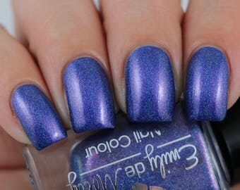 "Nail polish - ""LE 51"" blue linear holographic polish with pink shimmer"