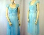 Memorial Sale Vintage Peignior Nightgown and Robe Turquoise Blue Artemis 1950's NOS Original Tags Ladies S