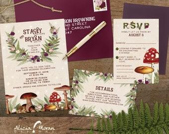 Wedding Invitation Suite: SAMPLE (Mushroom, Toadstool, Enchanted Forest, Moss, Illustrated)