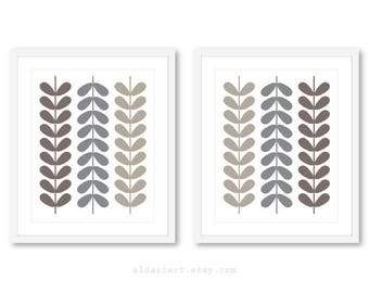 Mid Century Prints, Mid Century leaves, Mid Century Wall Art, Modern Leaves Prints, Scandinavian Art, Set of 2 prints, Frames not included