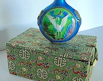 Vintage Chinese Enamel Perfume Bottle with Fitted Brocade Box