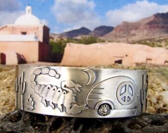 Double Flashback Arizona Roadtrip Teardrop Trailer Sterling Cuff  -  Size 7 1/4