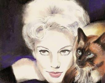 Original Pastel of Gillian Holroyd Kim Novak with her familiar  Pyewacket  8 x 9 3/4  Print By Connie Troupe