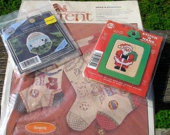 1980s Set of Three  Unused Sealed Christmas Decoration Kits STOCKING  AND ORNAMENTS   NeedlePoint Beading HandPaint Stenciled Designs