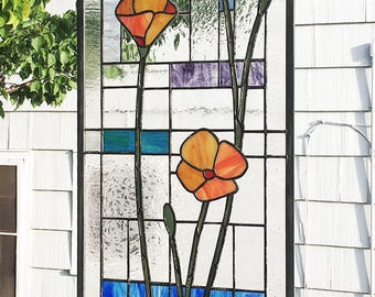 "California Poppies Geometric-B  13.75"" wide x  42.25"" tall-- Stained Glass Window Panel"