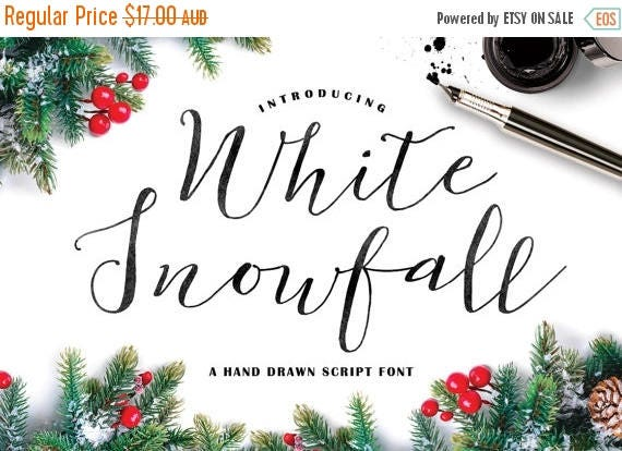 Digital Fonts 80% Off SALE White Snowfall Script Font, Hand drawn Calligraphy Typeface