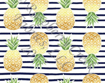 Navy Green and Yellow Pineapple Stripe 4 Way Stretch Jersey Knit Fabric, Summer Fruits By Ella Randall for Club Fabrics