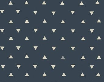 Navy Blue and White Geometric Triangle Jersey Knit Fabric, Observer by April Rhodes for Art Gallery Fabrics, Triangle Tokens in Ink, 1 Yard