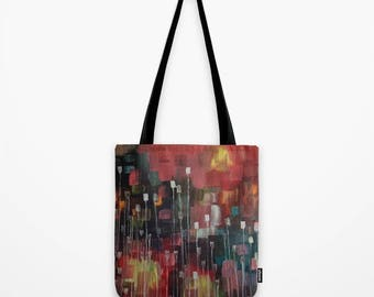 Pink Tote Bag Abstract Artwork Printed on Tote Bag Unique Tote Bag Colorful Tote Nature
