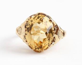Vintage 10k Rosy Yellow Gold Genuine 4.94 Carat Citrine Ring - Retro 1940s Size 4 1/4 Yellow Oval Gemstone November Birthstone Fine Jewelry