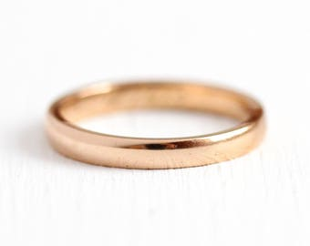 1917 Wedding Band - Vintage 14k Rose Gold Plain Ring - Art Deco Size 6 3/4 Dated Classic Simple Fine Stacking Jewelry with Initials and Year