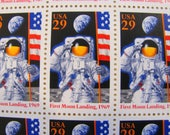 Space Exploration Full Sheet of 12 Vintage UNused US Postage Stamps 29c 25th Anniversary Moon Landing Astronomy Neil Armstrong Nasa Scifi