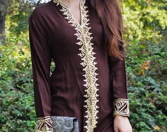 SUMMER 10% OFF // Brown Tunic Dress with Gold Embroidery-Samia- perfect for birthday gifts,resort wear, Valentine's day, winter wear, boho d