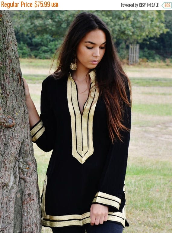 Autumn Dress 20% OFF/ Trendy Black Tunic with Golden Embroidery Mariam- perfect for resort wear, boho wear, as birthday gifts, black boho tu