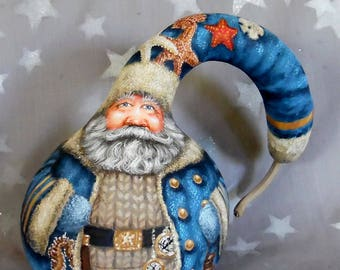 """Mariner's Yuletide, Santa Claus, hand painted gourd art, only one, 7"""" tall x 8"""" wide x 5 1/2 deep"""