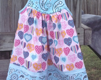 Little Girl's/Toddler Girl's/Baby Girl's Sundress with Multi-Colored Hearts with Aqua Blue Paisley Border and Blue Shoulder Ties