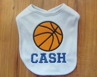 Personalized Basketball Baby Bib Personalized Baby Bib Monogram Baby Bib Custom Baby Bib Baby Baby Girl Bib Baby Boy Bibs Custom Basketball