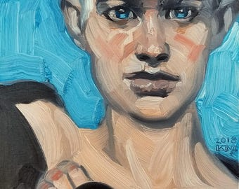 Non-Binary Late Teen, oil on canvas panel 11x14 inches by KennEy Mencher