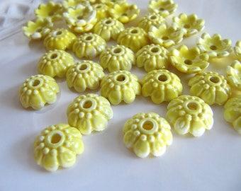 11mm Flower Bead Caps in Porcelain, Yellow, Flower Spacer Beads, 11mm x 4mm, Ceramic Bead Caps, 8 pcs